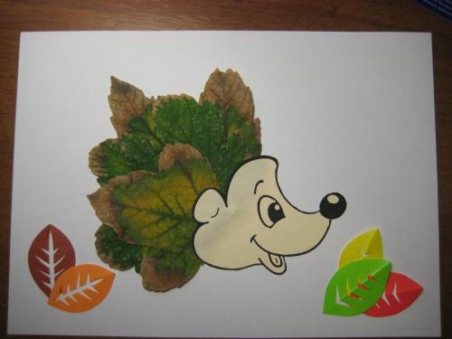 Ежик с листьями поделка 69